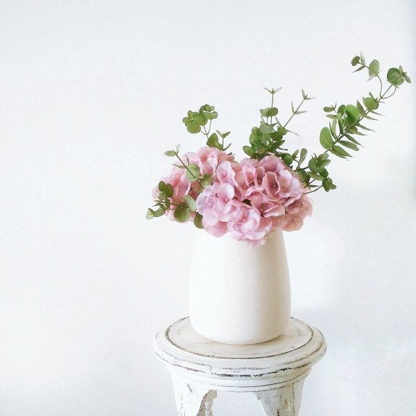 Unicorn Egg Vase with Silk Hydrangeas and Eucalyptus