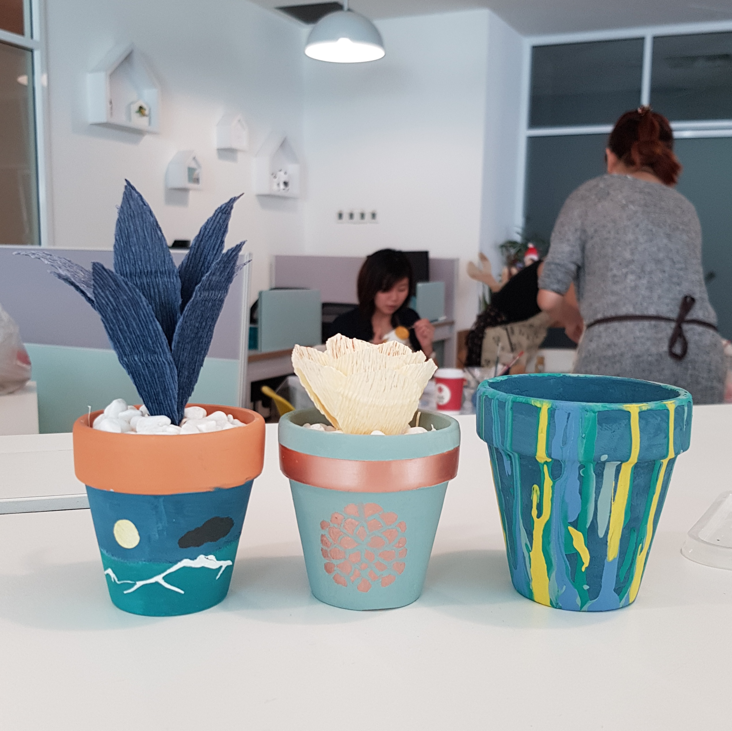 Painted Pots with Paper Succulents