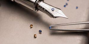 Montblanc pen being hand assembled