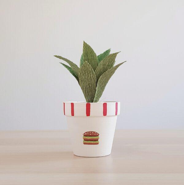 Big Mac Pot with Paper Succulent